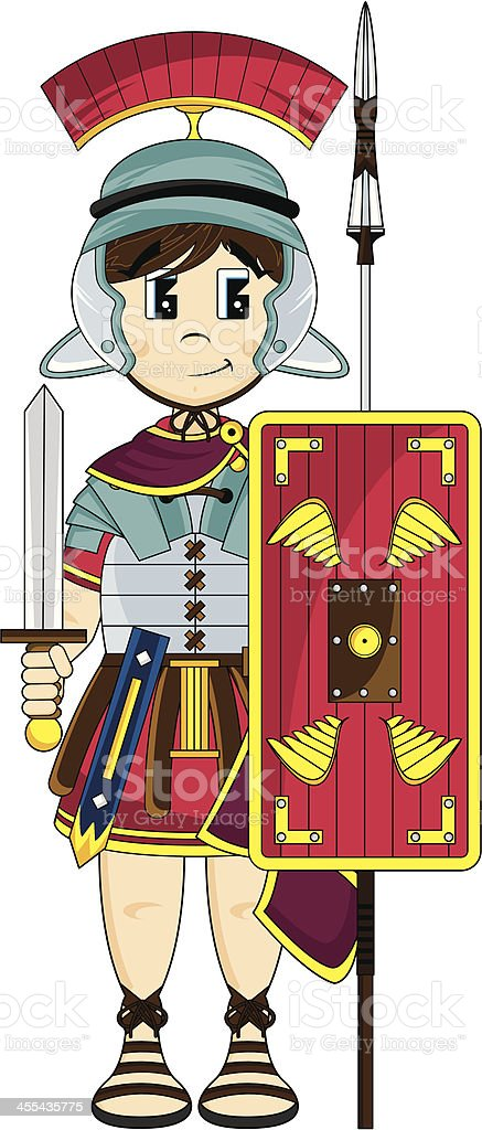 Roman Soldier with Sword Shield and Spear royalty-free roman soldier with sword shield and spear stock vector art & more images of adult