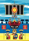 Vector Illustration of a Ancient Roman Ship with Soldiers and on the Beach.