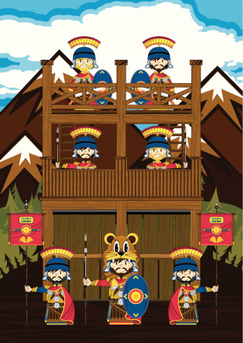 Roman Soldiers at Wooden Tower Scene