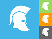 Roman Soldier's Helmet Flat Icon on Blue Background. The icon is depicted on Blue Background. There are three more background color variations included in this file. The icon is rendered in white color and the background is blue.