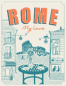Vector banner or menu for Roman street cafe overlooking the Colosseum and old buildings, with a table for two in retro style. Romantic illustration with Italian landscape. Inscription Rome my love