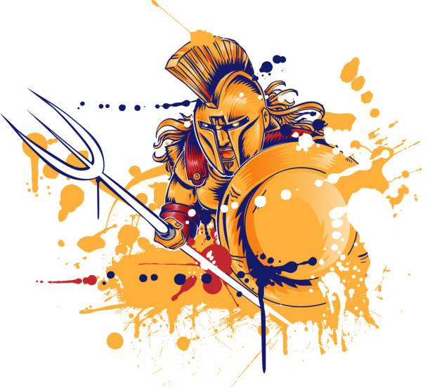 roman warrior with the trident vector art illustration