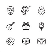 Romance and Love - Pixel Perfect outline icons