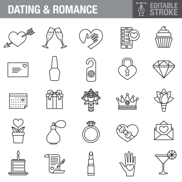 romance editable stroke icon set - date night stock illustrations