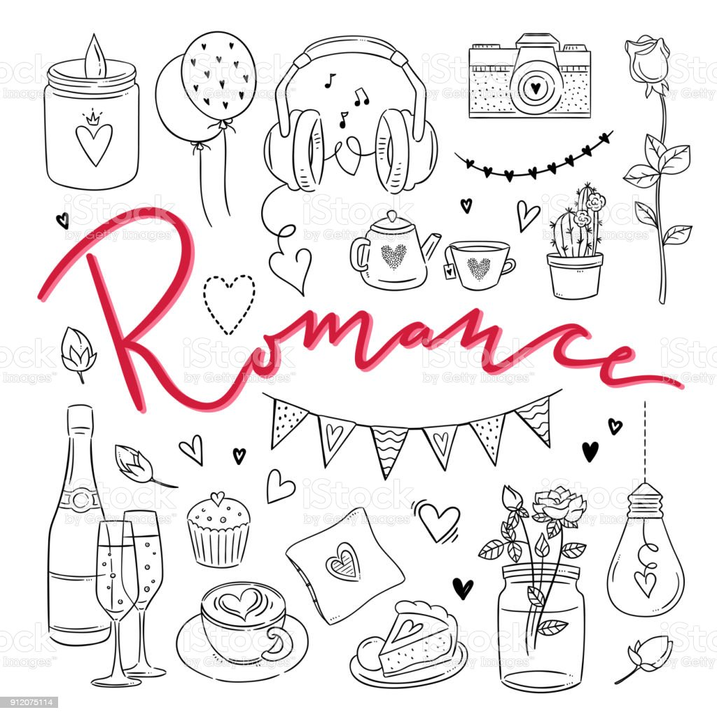 Romance hand drawn illustrations. Love outline symbols vector set for weddings and St. Valentine's Day Romance hand drawn illustrations. Love outline symbols vector set for weddings and St. Valentine's Day Art stock vector