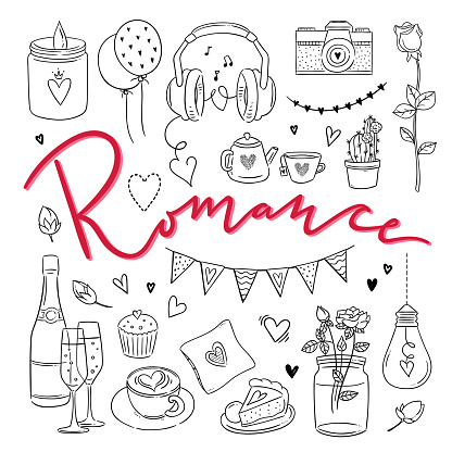 Romance Hand Drawn Illustrations Love Outline Symbols Vector Set For Weddings And St Valentines Day Stock Illustration - Download Image Now