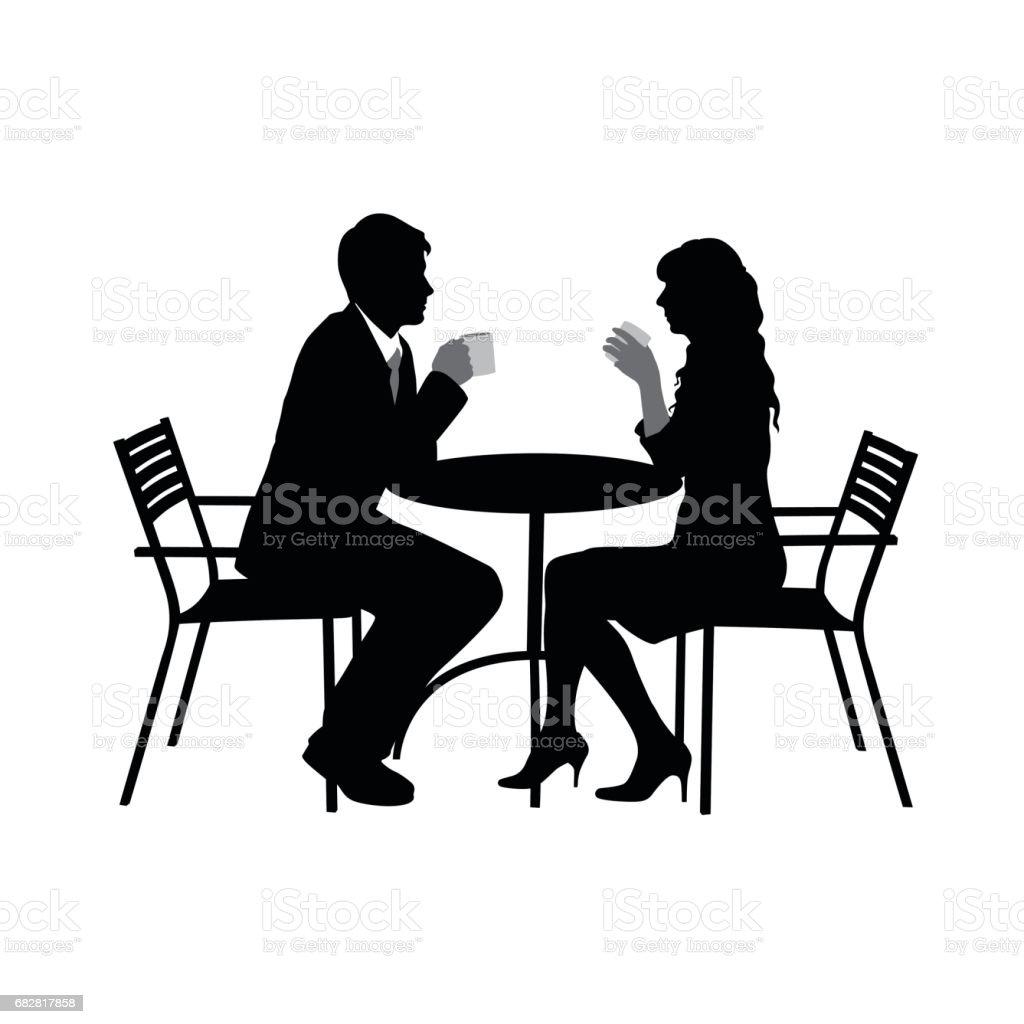 Romance Over Coffee vector art illustration