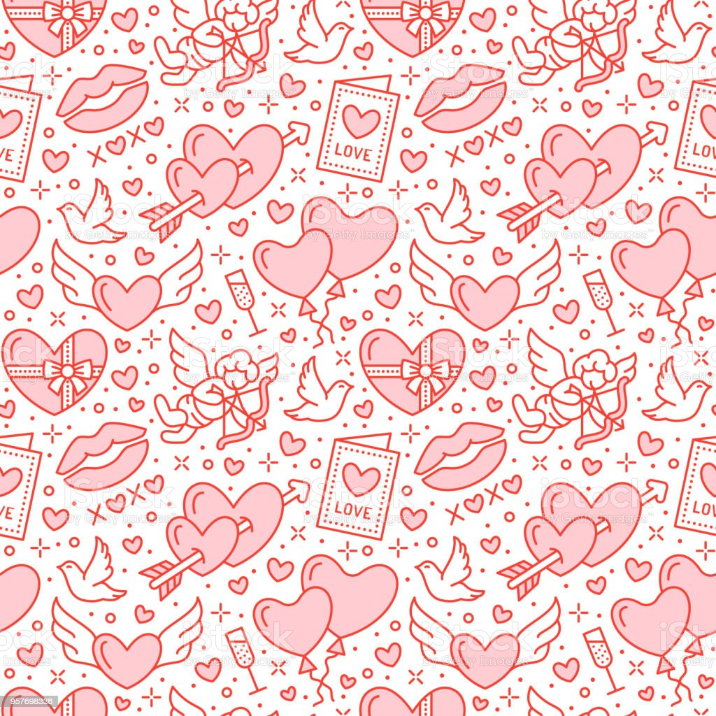 Romance Seamless Pattern Love Wedding Flat Line Icons Hearts ...