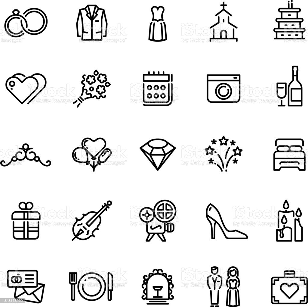 Romance wedding celebration and love in marriage vector line icons vector art illustration