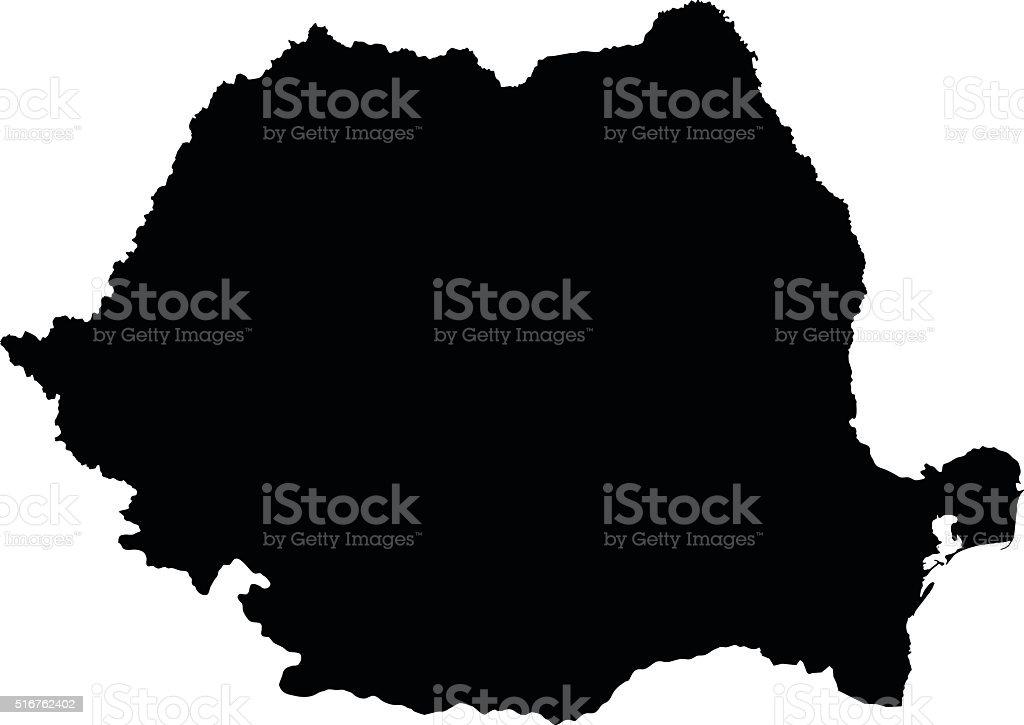 Romania Nero Mappa Su Sfondo Bianco Vettoriale Immagini Vettoriali