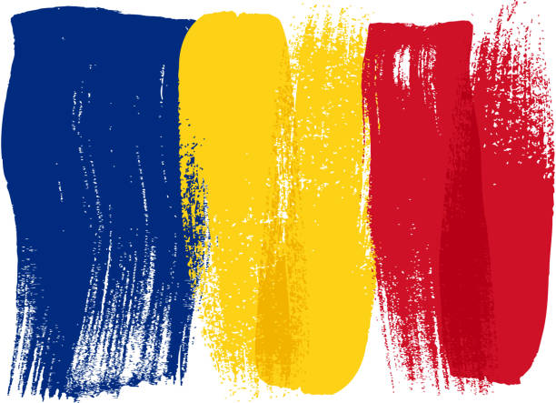 stockillustraties, clipart, cartoons en iconen met romania colorful brush strokes painted flag - roemenië