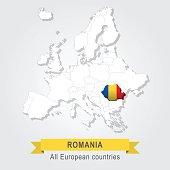 Romania. Europe administrative map.