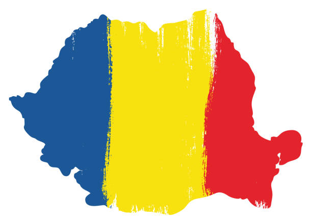 Romania Flag & Map Vector Hand Painted with Rounded Brush This image is a vector illustration and can be scaled to any size without loss of resolution. romania stock illustrations