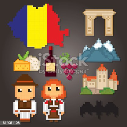 Romania Icon Set Pixel Art Old School Computer Graphic Style Clipart Image