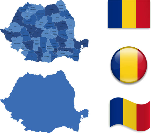stockillustraties, clipart, cartoons en iconen met romania map and flag collection - roemenië