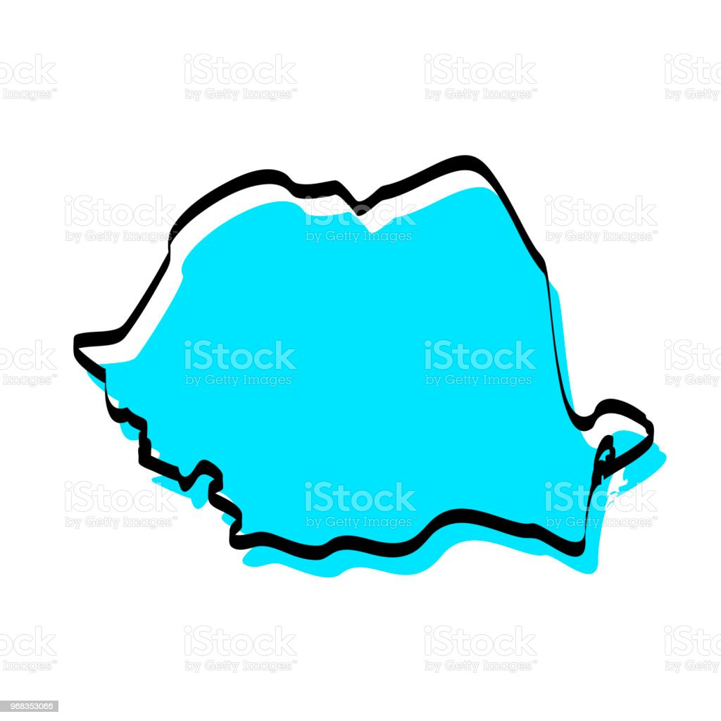 Romania Map Hand Drawn On White Background Trendy Design Stock ...