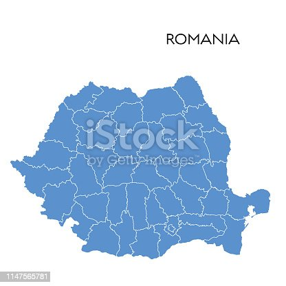Vector illustration of the map of Romania