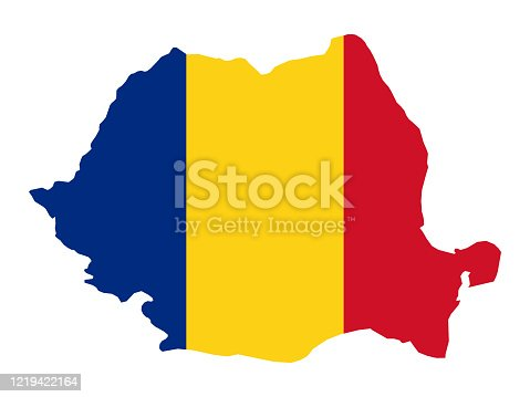 vector illustration of Romania map with flag