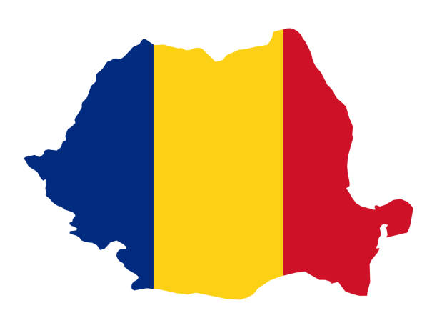 Romania map with flag vector illustration of Romania map with flag romania stock illustrations
