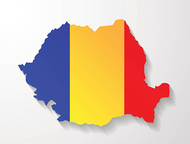 Romania map with shadow effect presentation Romania map with shadow effect presentation sample romania stock illustrations