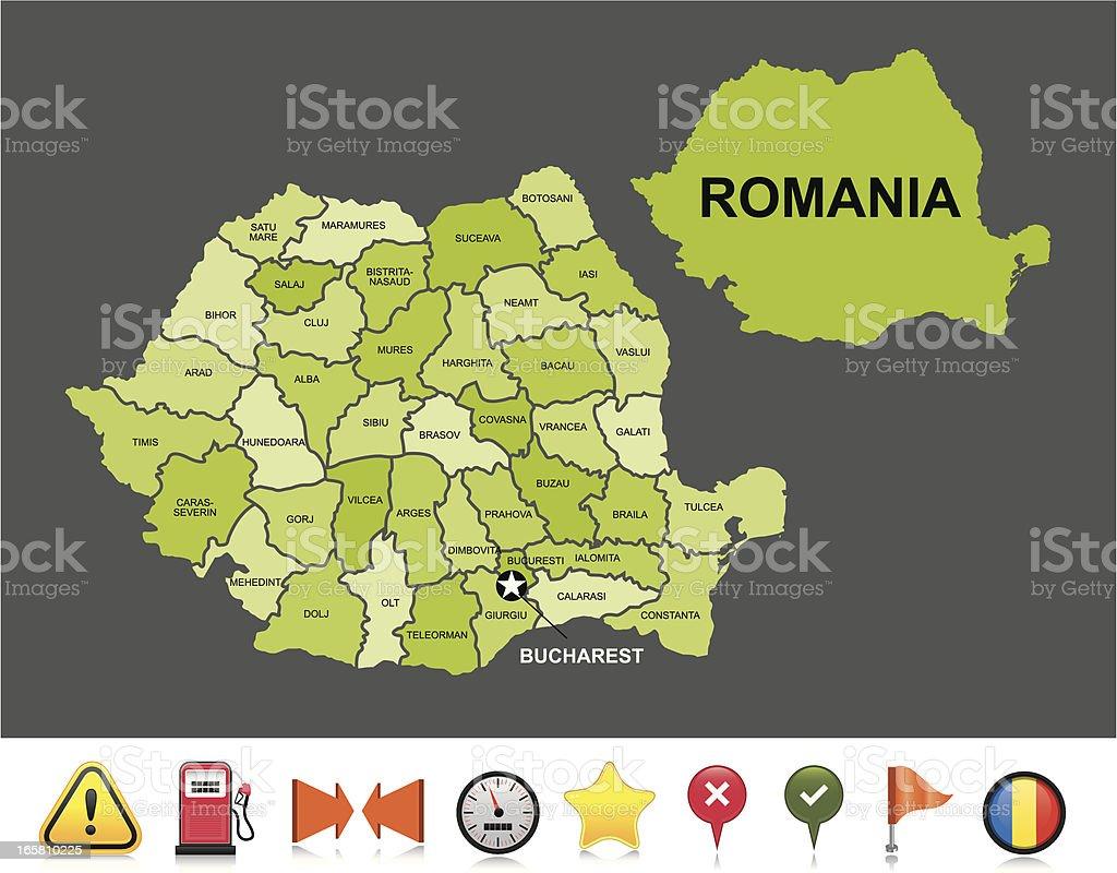 Romania navigation map royalty-free stock vector art