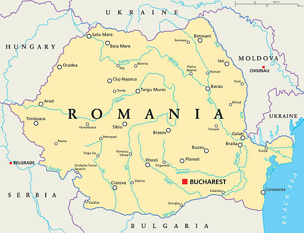 stockillustraties, clipart, cartoons en iconen met romania political map - roemenië