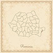 Romania region map: stilyzed old pirate parchment imitation.