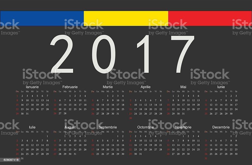 Calendario Rumeno.Rumeno Nero 2017 Anno Vettoriale Calendario Immagini