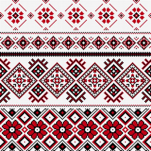 Romanian embroidery. Seamless ethnic pattern ornament. Romanian embroidery.  Old handmade cross-stitch ethnic background. Decorative traditional ornament. romania stock illustrations