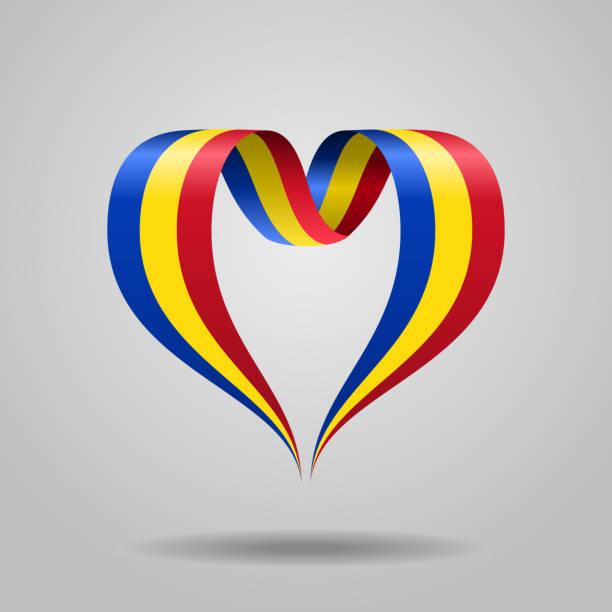 Romanian flag heart-shaped ribbon. Vector illustration. Romanian flag heart-shaped wavy ribbon. Vector illustration. romania stock illustrations