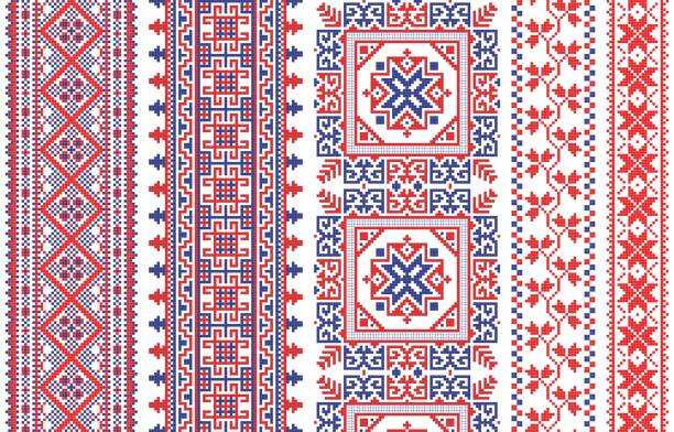 Romanian knitted embroidery pattern Traditional Romanian folk art knitted embroidery pattern romania stock illustrations