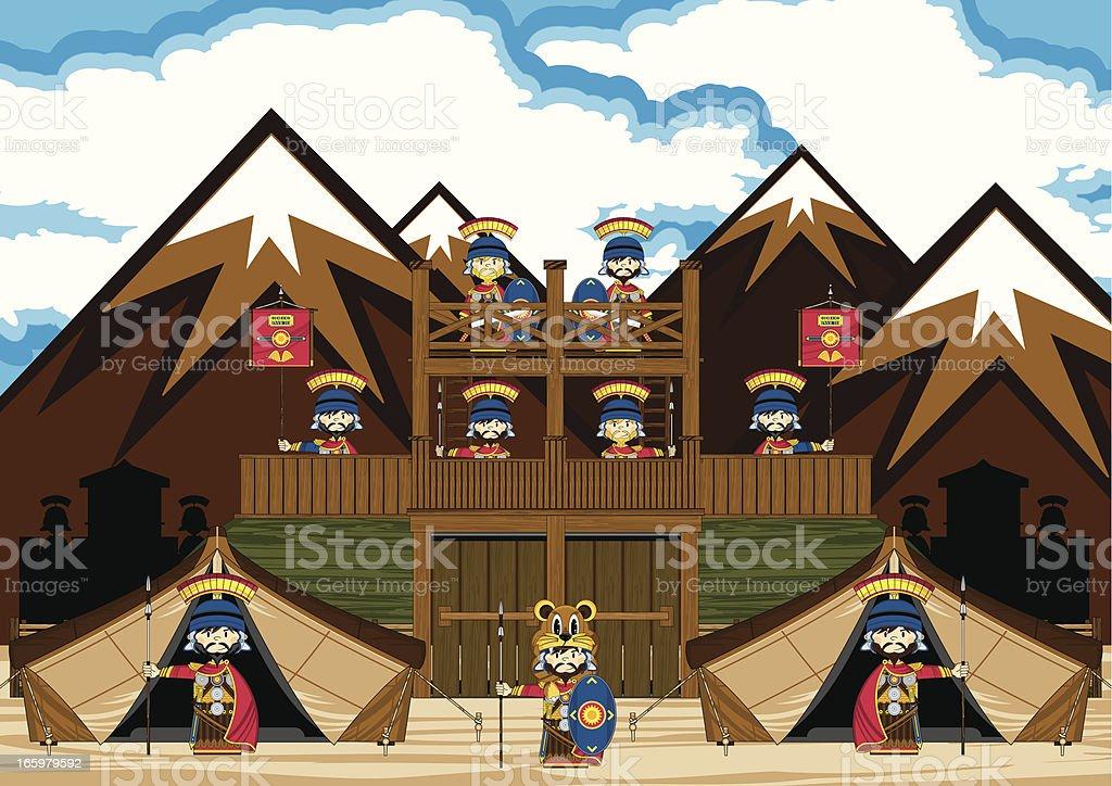 Romans at Fort Scene royalty-free stock vector art