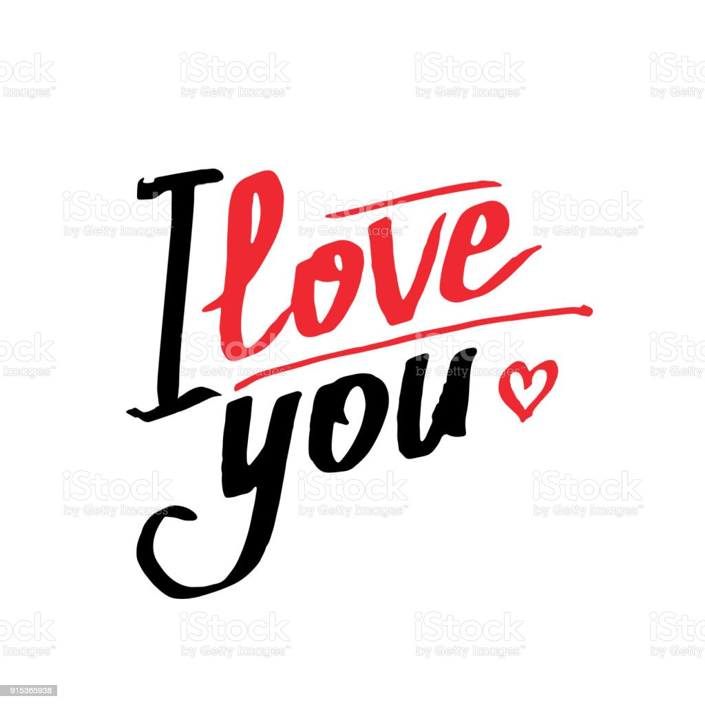 romantic and love card template calligraphic phrase i love you