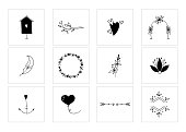 Set of vector hand drawn objects. Romantic and wedding clipart, feminine logo elements. For business branding and identity, greeting cards, overlays. Black on white isolated symbols.