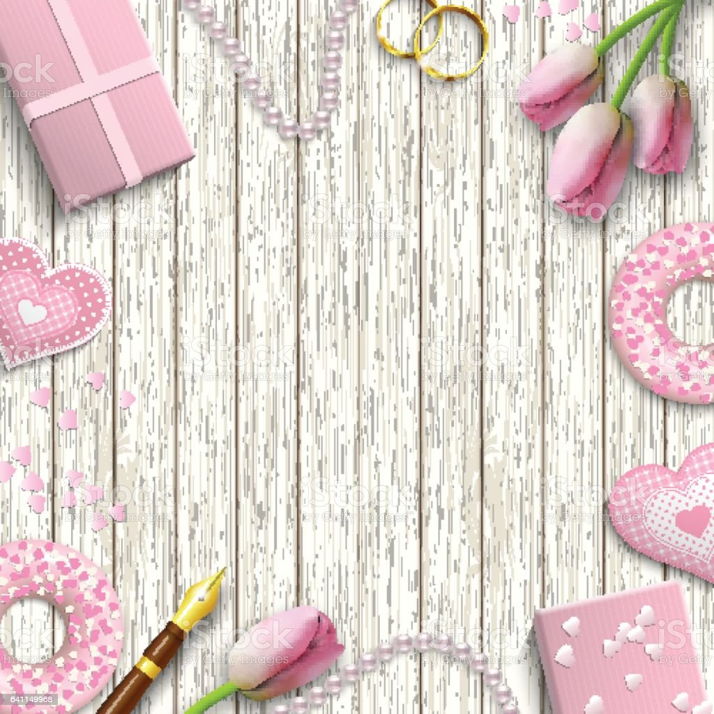 Romantic background, inspired by flat lay style, illustration royalty-free romantic background inspired by flat lay style illustration stock vector art & more images of adult