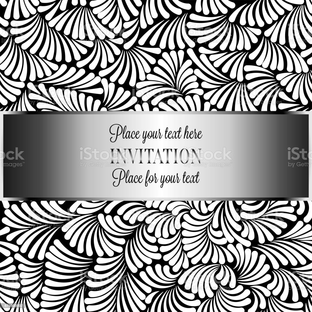 Romantischen Hintergrund Mit Antik Luxus Schwarz Weißvintagerahmen ...