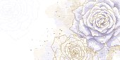 Romantic background with blue roses. Watercolor style. Can be used as background for wedding invitation cards.