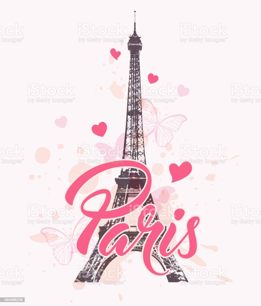 Romantic Background With Eiffel Tower Royalty Free Stock Vector Art