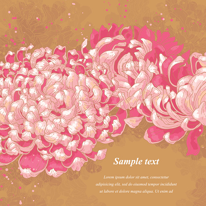 Romantic background with pink chrysanthemum on gold background