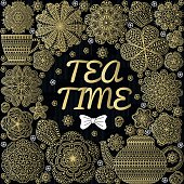 Romantic background with teapot, cup, muffins, flowers
