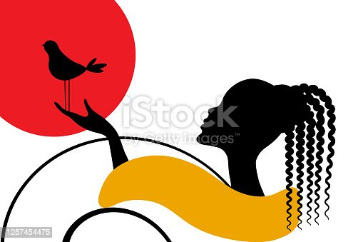 Romantic black silhouette of african american woman, bird and geometric shapes. Abstract vector illustration.