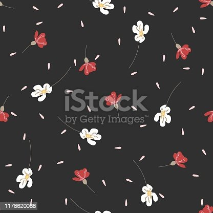 Romantic blossom floral seamless pattern. Blooming botanical motifs scattered random. Colorful vector texture. Good for fashion prints. Hand drawn small red and white flowers on dark grey background