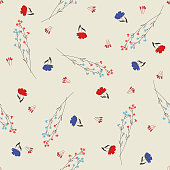 Romantic blossom floral seamless pattern. Blooming botanical motifs scattered random. Colorful vector texture. Good for fashion prints. Hand drawing small flowers and branches on beige background