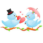 Romantic blue birds sharing love heart under pink umbrella. Vector Illustration.