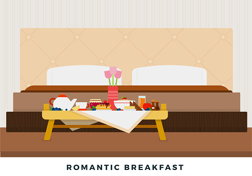 Romantic breakfast in bed on a breakfast table vector flat isolated