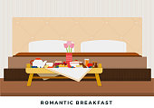 istock Romantic breakfast in bed on a breakfast table vector flat isolated 1266645507
