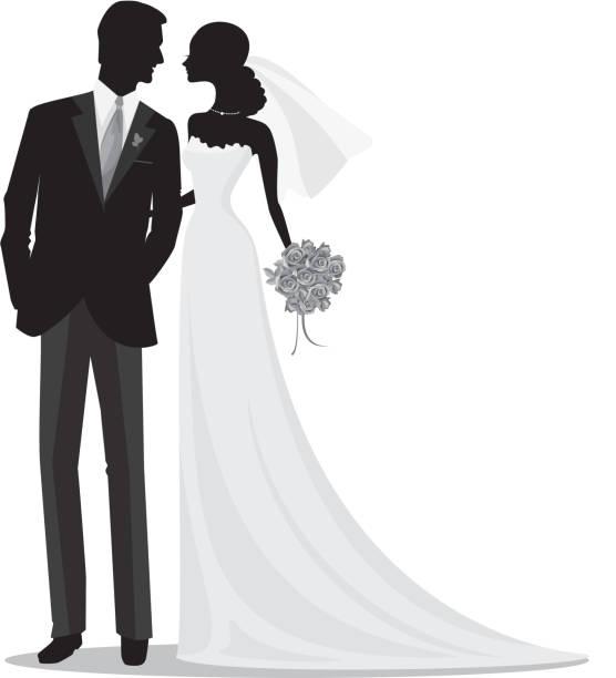 romantische braut und bräutigam silhouette - rosenhochzeitskleider stock-grafiken, -clipart, -cartoons und -symbole