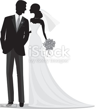 Romantic Bride And Groom Silhouette Stock Vector Art