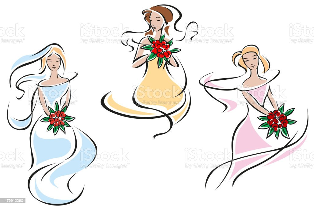 Romantic brides in colorful wedding dresses vector art illustration