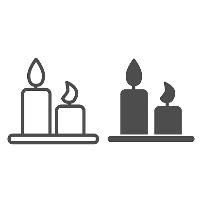 Romantic candles on plate line and solid icon. Two burning candle with tray symbol, outline style pictogram on white background. Valentines day sign for mobile concept and web design. Vector graphics.